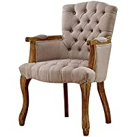 Baxton Studio Clemence French Provincial Weathered Oak Beige Linen Upholstered Armchair