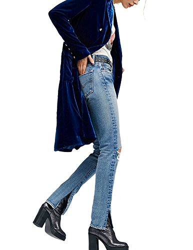HaoDuoYi Womens Solid Velvet Double Breasted Trench Coat(XXL,Blue) by HaoDuoYi (Image #3)