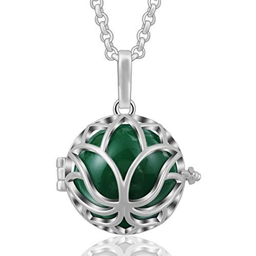 Goddess Locket - AEONSLOVE Lotus Flower Yoga Harmony Bola Chiming Bell Silver Plated Sphere Pendant Necklaces&30'' Chain (Green)