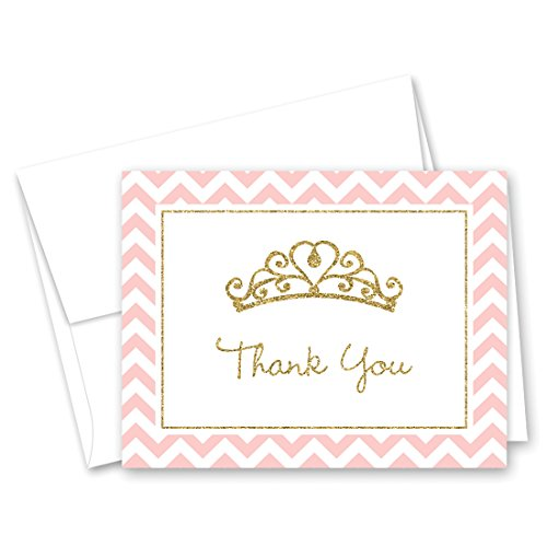 50 Princess Tiara Thank You Cards (Faux Gold - Note Princess