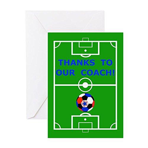 Thanks Coach Football (CafePress - Soccer Coach Thank You - Greeting Card, Note Card, Birthday Card, Blank Inside Glossy)