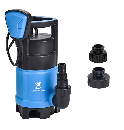 (FLUENTPOWER 3/4 HP Sump Pump with Max Flow 3300 GPH for Dirty/Clean Submersible Water Pump with Revocable Function of Float Switch, Included 3/4