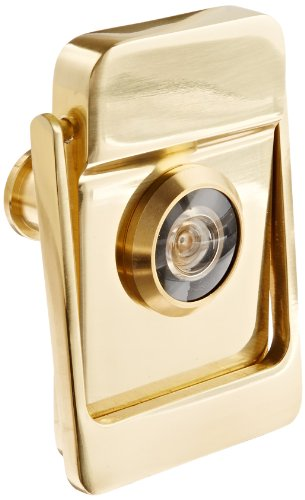 Brass Coated Knocker - Rockwood 614V.3 Brass Door Knocker with Door Viewer, 2-1/8