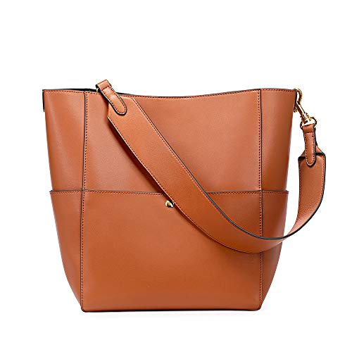 Kattee Hobo Bags for Women, Leather Tote Purses and Handbags Work Bucket Bag (Brown) (Vintage Dooney And Bourke Purses For Sale)