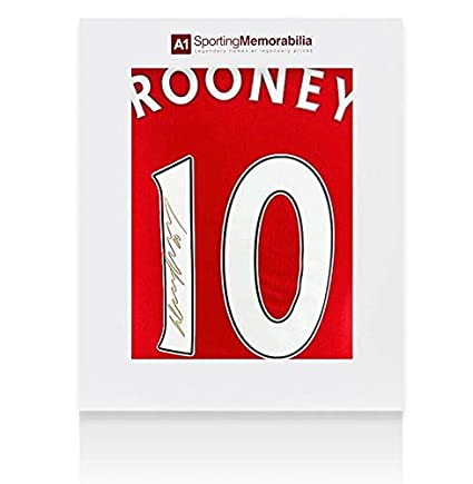 a4ce1aeb53a Wayne Rooney Signed Manchester United Shirt 2016 17 Number 10 Gold Ink Fan  Style -