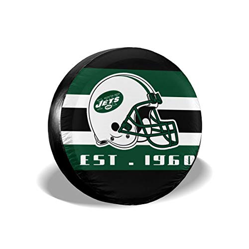 HEIFOLI Tire Cover American Football Team Weatherproof Dust-Proof Universal Spare Wheel Tire Cover Fit for Jeep,Trailer, RV, SUV, Truck - New York Jets 15 Inch