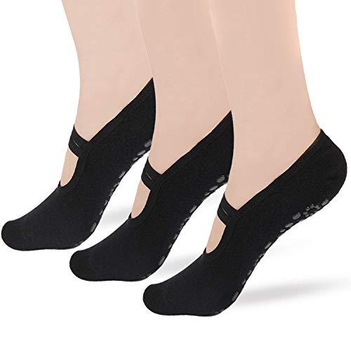 Gripper Pilates Barre Slipper Socks For Women - Elutong 3 Pairs Sticky Non Slip Grips Socks Yoga Ballet Sox (04 Black+Black+Black)