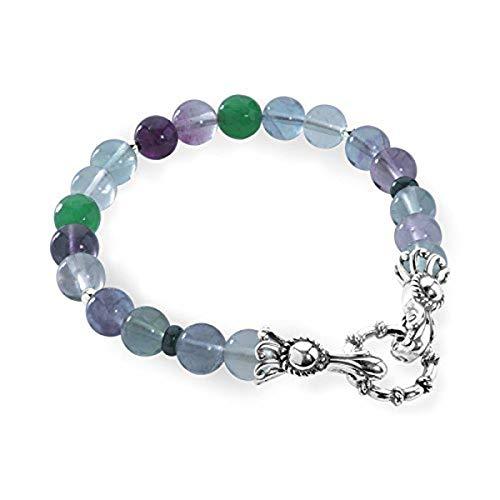 Carolyn Pollack Sterling Silver Green Colored Gemstone Beaded Bracelet Size Medium ()