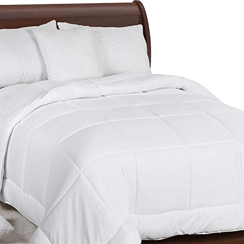 Utopia Bedding All Season Comforter - 250 GSM Plush Microfiber Fill - Quilted Duvet Insert with Corner Tabs Box Border Stitched Comforter - Full/Queen - White