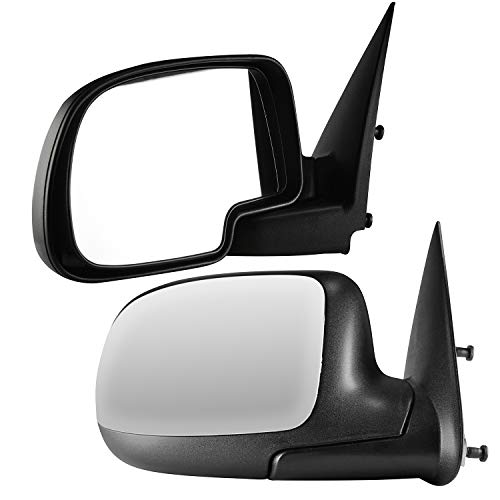 (Driver and Passenger Side Chrome Cover Side View Mirrors for 99-06 Chevy & GMC Trucks, 02-06 Avalanche, 07 Classic, 02-06 Cadillac Escalade EXT)