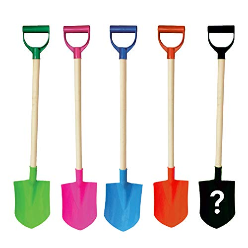 Beachgoer Bulk Pack of 5 32-Inch Plastic Wood Large Heavy Duty Beach Kids Sand Shovels with Reinforced Plastic Handle - 5 Color Pack Blue Pink Green Sand Toys]()