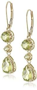 14k Yellow Gold Pear-Shaped Peridot Dangle Earrings
