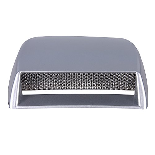Aumo-mate New Universal Car Air Flow Intake Hood Scoop Turbo Bonnet SUV Vent Cover (Silver)