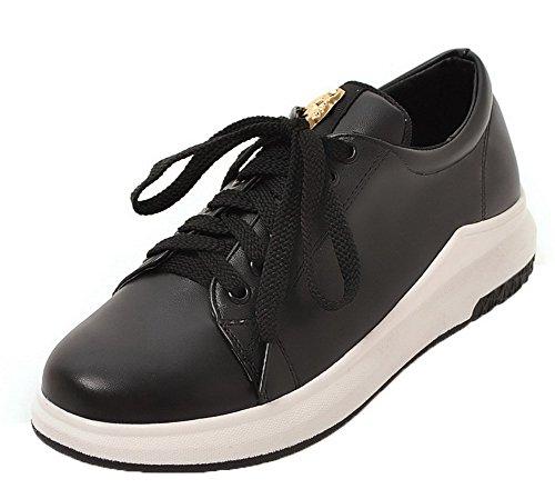 AgooLar Damen Niedriger Absatz Rein Schnüren Weiches Material Rund Zehe Pumps Schuhe, Schwarz, 42