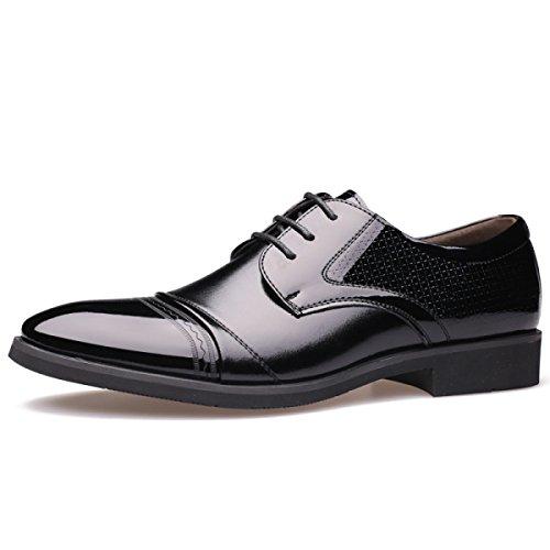 GRRONG Vestimenta Formal Zapatos De Cuero De Los Hombres De Negocios Negro Marrón Black