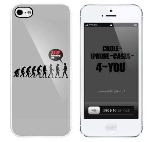 Iphone 5 Case Stop following me Evolution Rahmen weiss