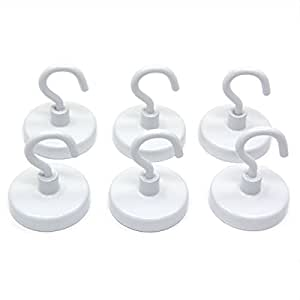 """CMS Magneitcs Ceramic Magnet Hook 1 1/4"""" in Diameter with 18 LB Holding Power 6-Count"""