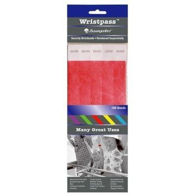 Security Wrist Band,Tear Resistant,10quot;x3/4quot,Red (BAU85020) Category: Party Decorations and Pa