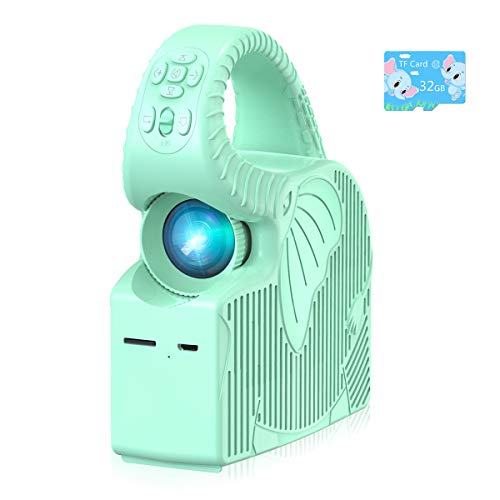Kids Mini Projector, ROTEK Kids Stories Zoomable Video Projector, Songs and Animations Player with 32GB TF Card, Home & Outdoor Projector Gifts for Kids (Blue).