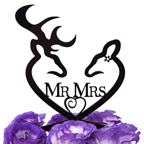 LOVENJOY with Gift Box Deer Mr and Mrs Monogram Wedding Engagement Cake Decoration Topper Black (4.3-inch) (Updated -