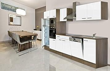 respekta Einbau Küche Küchenblock 340 cm Eiche York Nachbildung Weiß ...
