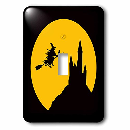 3dRose Uta Naumann Watercolor Illustration - Happy Halloween-Spooky Castle- Witch and Creepy Bats Illustration - Light Switch Covers - single toggle switch (Happy Halloween Witch Pics)
