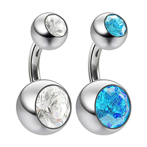 2pc 14g Swarovski Crystal Double Gem Aquamarine Belly Button Ring Surgical Steel Shallow Navel 6mm