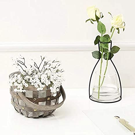 Amazon.com: Iron Vase - Nordic Flower Ornaments Black Lines ...