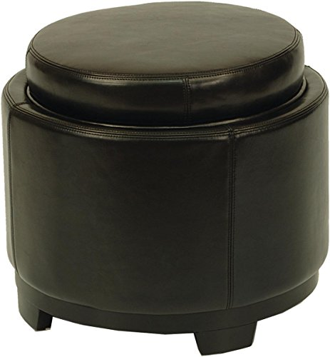 Safavieh Hudson Collection Chloe Leather Single Tray Round Storage Ottoman, Black (Round Leather Tray)