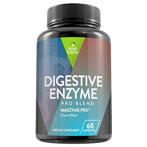 Digestive Enzyme Nutritional Dietary Supplement By Naturo Sciences – Makzyme Pro Blend – Support A Proper Digestion, Gas Relief, Prevent Bloating & Stomach Discomfort – 60 Capsules – Made In USA