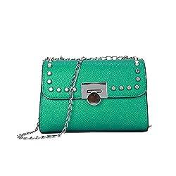 Leather Women Shoulder Bag Rivet Crossbody Messenger Bags Green 22x6x15cm