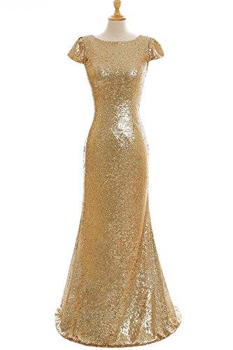 32 Gold Damen Pailletten Ballkleid MisShow Rückfrei Gr 46 Brautjungfernkleid Abendkleid Hochzeitkleider Lang 7PTqpqz