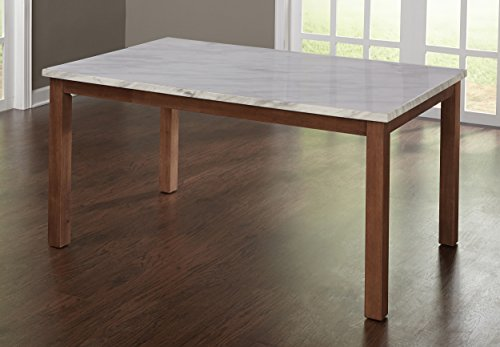 Target Marketing Systems Edina Collection Modern Dining Room Table With Faux Marble Top, Walnut/Faux Marble