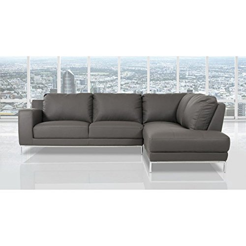 Divani Casa Primrose Modern Eco-Leather Sectional Sofa with Right Facing Chaise