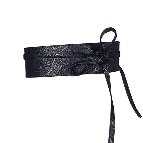 Women's Soft Faux Leather Wrap around Obi Style Bow Tie Waist Band Belt for Dress Skirts (Navy Blue, 2.5m X 6.7cm (L X W)) (X-long Band Tie Bow)