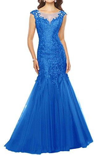 Ausschnitt U Lang Charmant Meerjungfrau Brautmutterkleider Damen Partykleider Promkleider Royal Spitze Blau Glamour qgqntxE