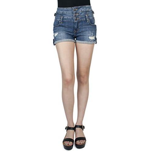 Hot Eunina Jeans Women's High Waist Multi Button Shorts for cheap