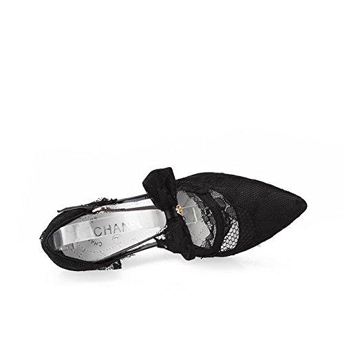 Amoonyfashion Mujeres Punta Estrecha Cerrada Puntas-stilettos Hebilla Bombas Sólidas Zapatos Negro