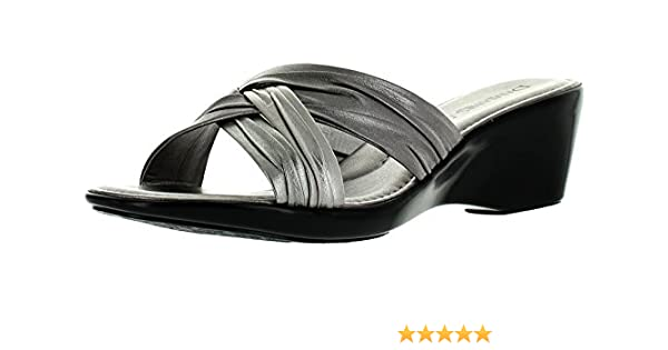 78c44ac7aa Damiani's By Italian Shoemakers 162 Pewter Metallic Multi Slip on Slide  Sandal