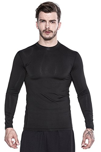 Saraca Core Men's Compression Long-Sleeved T-Shirt Cool Dry Sports Base Layer Running (s, Black)