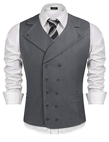 Coofandy Men Suit Vest Solid Double Breasted Slim Fit Business Dress Waistcoat, Gray, Medium