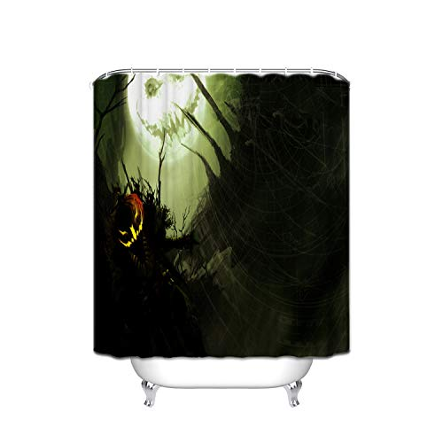 Orange Pumpkin Evil Smiley Black Night Forest Spider Web Moon Shower Curtain Waterproof, Soap and Mildew - Polyester Bathroom Curtain Decoration Set - 12 Shower Hooks (72 X 72 Inches) -