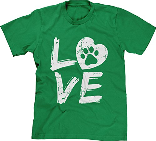 Blittzen Mens Love Paw Print In Heart, L, Green by Blittzen