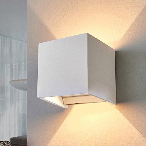 LED Aluminum Waterproof Wall Lamp,12W 85-225V 3200K Adjustable Outdoor Wall Light Warm Light 2 LEDS (White)