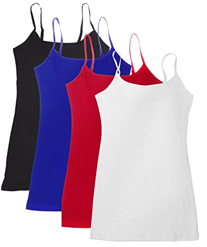 4 Pack: Active Basic Cami Tanks (Medium, Black/White/Blue/Red)