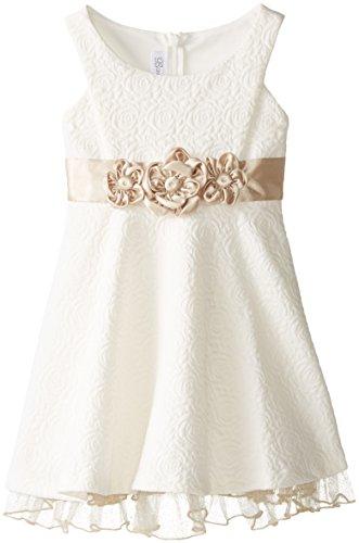 Bonnie Jean Little Girls' Jacquard Knit Dress with Flowers, Ivory, 5