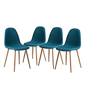 GreenForest Dining Chairs Set of 4, Modern Mid Century Teal Fabric Upholstered Dining Room Chairs for Kitchen Living…