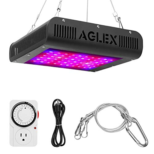 (600W LED Grow Light, Plant Grow Lamp with Timer, Double Chips Full Spectrum with UV and IR for Greenhouse Indoor Plant Veg and Flower (AGLEX))