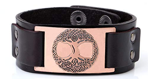 Lemegeton Pagan The Celtic Tree of Life Crafts Connector Leather Cuff Bracelet Men Women Jewelry (brown antique copper)