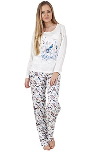 Red Olives/® Womens Ladies Pussy Cat Motif Dont Stress Me OWWT Full Length Pyjama Set Cotton PJs Nightwear UK 10-20